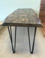 table basse de salon en chêne effet bûlé