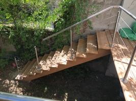 escalier douglas  avec garde corps inox